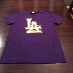 NWOT: Purple LA LAKERS T-Shirt in Medium Description Above Tops