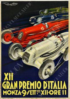 Poster XII Gran Premio Monza 1934 Riproduzione A3 pubblicità vintage auto corsa