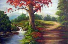 Resultado de imagem para pintura em tela paisagem com cachoeira