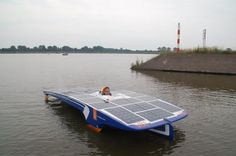 Koninklijke Marine during the Dutch Solar Challenge 2014. They raced in the V-20 class of the solar boat race.