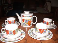 Vintage Tea Set by Lord Nelson Pottery-  Gaytime  Design- Very Seventies!