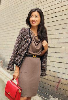 Ann Taylor Factory dress, style #286554 (similar w/ great reviews)  J.Crew Edie bag, Louboutin Decolette pumps, Hermes belt, necklace c/o to Stella & Dot