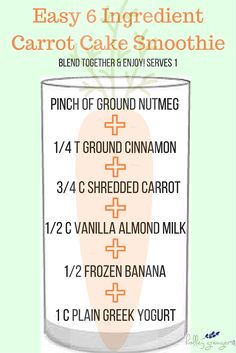 A healthy and refreshing way to satisfy that craving for a slice of carrot cake! Blend these basic ingredients into a Carrot Cake Smoothie and enjoy!