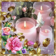 By esparrago Yanina Avalos - PicMix Good Night Gif, Good Night Image, Romantic Candles, Beautiful Candles, Gif Pictures, Love Pictures, Beautiful Gif, Beautiful Roses, Beautiful Butterflies