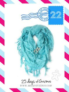 Teal Chain Accent Scarf