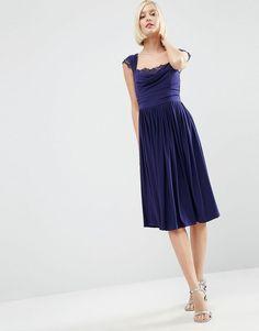 ASOS | ASOS WEDDING Lace Insert Cowl Midi Dress