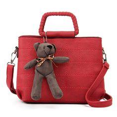 Sale 21% (29.46$) - Retro Women PU Leather Plaid Bear Handbags Ladies Elgant Shoulder Bags Crossbody Bags
