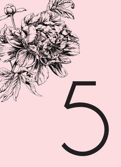 Pretty in Peonies Table Numbers - Hoopla House