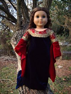 """Arwen Red/Navy Velvet Gown from """"Lord of the Rings: Return of the King"""" Medieval/Renaissance Costume Dress for 18"""" American Girl Dolls - by Morgan May @ Stardust Dolls - http://www.stardustdolls.com"""