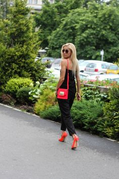FFD DAY 1 Posted by alina ceusan Leather Clutch, Red Leather, Neon Heels, Neon Bag, Lace Skirt, Fashion Dresses, Zara, Sporty, Street Style