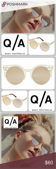 "🆕 Quay Australia ""Fluer"" Sunglasses AUTHENTIC Quay Australia Style Name ""Fluer"" Sunglasses. These playful sunnies feature classic round lenses set inside a playful Rose Gold metal cut-out cat eye frame.   Please keep in mind that these gorgeous sunnies are a boutique item. They are brand new, not used, and arrive from the manufacturer _._._._._ Metal Frame. 100% UV Protection  Width: 145mm. Height: 55mm. Nose Gap: 8mm Quay Australia Accessories Sunglasses"