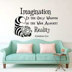 Wall Decal Alice In Wonderland Cheshire Cat Quote Imagination Is The Only Weapon In The War Against Reality Nursery Bedroom Wall Decor  Approximate Item Sizes:  14 Tall x 21 Wide 22 Tall x 33 Wide 28 Tall x 44 Wide 36 Tall x 54 Wide  Dont see the size you need? Send us a message for your custom needs and we will create a listing just for you. Picture may not reflect true size.  Choosing from the color chart above, please leave your choice of color in the message box when purchasing. If a…