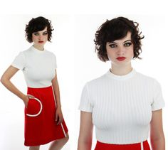Mod Round Pocket Dress Bright Red 60s 70s by neonthreadsdesigns, $44.00