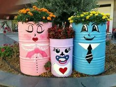 Tin can planters how cute