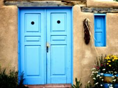 Blue Door on Adobe Building...Photography by Ray Laskowitz