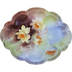 Gorgeous Havilland & Co. Limoges 1900's Hand Painted 'Yellow Daffodils' 10-5/8' Floral Tray by the Artist, 'A.M.T.'