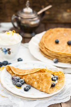 This dessert tastes as if a lemon cheesecake with blueberries was wrapped in a crepe. Absolutely the best!