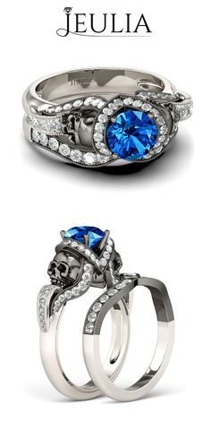 Milgrain 2-tone Vapor-like Round Cut Sapphire Rhodium Plated Sterling Silver Skull Ring #jeulia