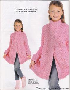 Mis Pasatiempos Amo el Crochet: Tapado rosa para niñas