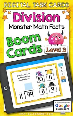 Division Monster Math Facts Level 2 digital self-checking Boom Cards are a fun way for students to develop fluency with basic division facts having divisors from 4 to 12.#BoomCards #DigitalTaskCards #DistanceLearning #division #divisionfacts #mathboomcards #mathfun #mathfactpractice Multiplication Facts, Math Facts, Teacher Hacks, Best Teacher, Active Engagement, Math Fact Practice, Types Of Play, Engage In Learning, Math Division