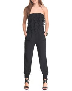 Find Ruffled Front Tube Jumpsuit Women's Jumpsuits from She's Cool & more at DrJays. on Drjays.com