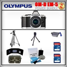 Olympus OM-D E-M5 Silver 16MP Digital Camera - Olympus 14-42mm Lens - 2x 32GB SDHC Memory Card - USB Memory Card Reader - Memory Card Wallet - Carrying Case - Lens Cleaning Kit - Full Size and Mini Tripods by Olympus. $1139.99. Olympus OM-D E-M5  The OM-D's new electronic viewfinder (EVF), with 120 fps refresh rate, features a high-resolution 1.44-million dot LCD, 100% field-of-view coverage, and 1.15x maximum magnification that let you totally immerse yourself in ...
