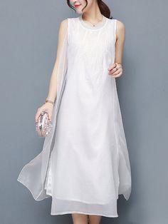 eba46b6ec94 US  23.70 - Elegant Layered Pure Color Sleeveless O-neck Women Maxi Dress  White · White Maxi DressesCheap Maxi DressesDenim ...