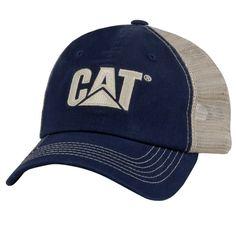 591b90fac5108 Caterpillar CAT Blue   Khaki Twill and Nylon Mesh Cap