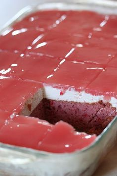 """Guava Cake (with cream cheese layer and guava glaze) slightly adapted from The Polynesian Kitchen (originally from Aloha World Ono Recipes). 