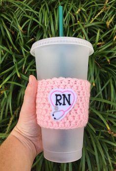 Gift for Nurse RN Coffee Cozy RN Gift Stocking Stuffer | Etsy Crochet Towel, Crochet Dishcloths, Crochet Coffee Cozy, Mug Cozy, Coffee Lover Gifts, Etsy Crafts, Nurse Gifts, Sell On Etsy, Stocking Stuffers
