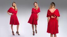 Loose Design midi dress with open knotted back. Bridesmaid Dresses, Wedding Dresses, Spring Summer 2015, V Neck Dress, Collection, Design, Fashion, Bridesmade Dresses, Bride Dresses