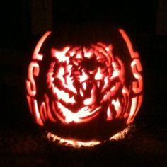LSU Tigers pumpkin I designed and carved -by Taylor Gunn-Halloween 2011