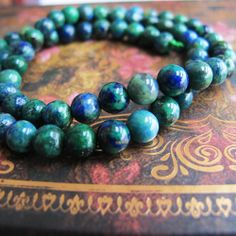 Green chrysocolla fenghuanglite beads 6mm round by FARRAgem