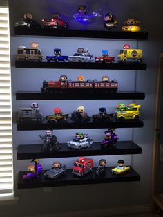 What does a complete Pop Rides collection look like? Come inside and see :-) Funko Pop Shelves, Funko Pop Display, Toy Display, Pop Collection, Collection Displays, Funko Pop Dolls, Nerd Room, Disney Pop, Figurine Pop