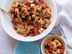 Tomato Feta Pasta Salad Recipe : Ina Garten : Food Network-- add grated cheese and parsley (see video) Pasta Fusilli, Feta Pasta, Quinoa Pasta, Food Network Recipes, Food Processor Recipes, Cooking Recipes, Healthy Recipes, Grilling Recipes, No Heat Lunch