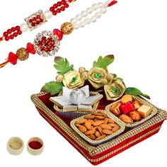 Rakhi Dilkush  : Designer hamper made with velvet fabric and designer lace, decorated with tissue flowers and filled with choicest delicacies for your loved ones.  Rs 1131/- Shop Now : http://www.tajonline.com/rakhi-gifts/product/r4532/rakhi-dilkhush/?aff=pint2014/