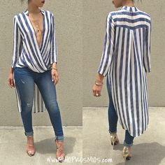 Glamaker Swallowtail striped women blouse shirt 2016 Autumn long sleeve deep v neck loose casual blouse blusas Party sexy tops Casual Outfits, Cute Outfits, Longsleeve, Mode Hijab, Blouse Dress, Blouse Designs, African Fashion, Shirt Blouses, Blouses For Women