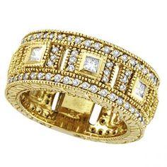 Round & Princess Eternity Diamond Byzantine Ring 18k Yellow Gold (1.72ct)