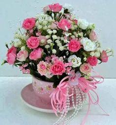 pink and white Flower Arrangement Beautiful Roses, Silk Flowers, Pretty In Pink, Beautiful Flowers, Wedding Flower Arrangements, Floral Centerpieces, Floral Arrangements, Victorian Teacups, Teacup Flowers