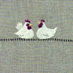 Embroidery on linen chickens - love it