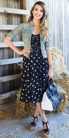 Jessica Alba. Cute polka dot dress with jean jacket to dress it down or not to dress it up :)