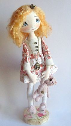 Cloth Art Doll Jana bear crochet princess by ArtDollsByKseniya, $105.00