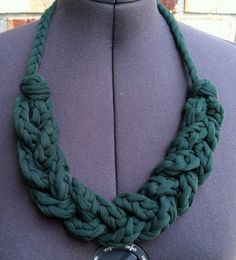 Upcycled T Shirt Yarn Braided Necklace Hunter Green