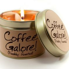Lily Flame COFFEE GALORE Tin Candle - Freshly Roasted! Warm and welcoming freshly roasted coffee. So strong, you don't even need to burn it - Simply leave the lid off