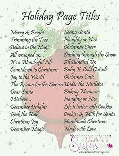 Christmas page titles