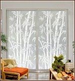 Big Bamboo window film is a versatile pattern that blends nicely with many types of decor. A life size stand of bamboo canes on a clear background provides glass doors and windows with an oriental or Window Glass Design, Frosted Glass Design, Stained Glass Window Film, Frosted Glass Window, Window Privacy, Privacy Glass, Glass Etching, Etched Glass, Oriental Decor