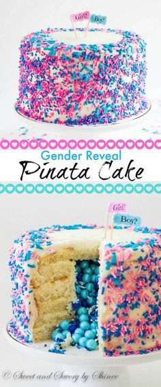 Tall 6-layer white cake covered with sweet and tangy cream cheese frosting and filled with colorful candies and sprinkles inside. Deliciously fun way to reveal the gender of a new bundle of joy!