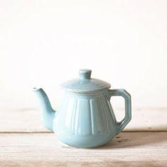 Vintage tea pot, Blue ceramics coffee pot, Kitchen ware
