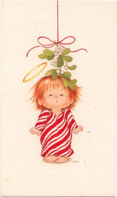 red head girl pepperment dress card for ornament