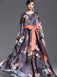 Multicolor Round Neck Long Sleeve Tie-Waist Print Dress